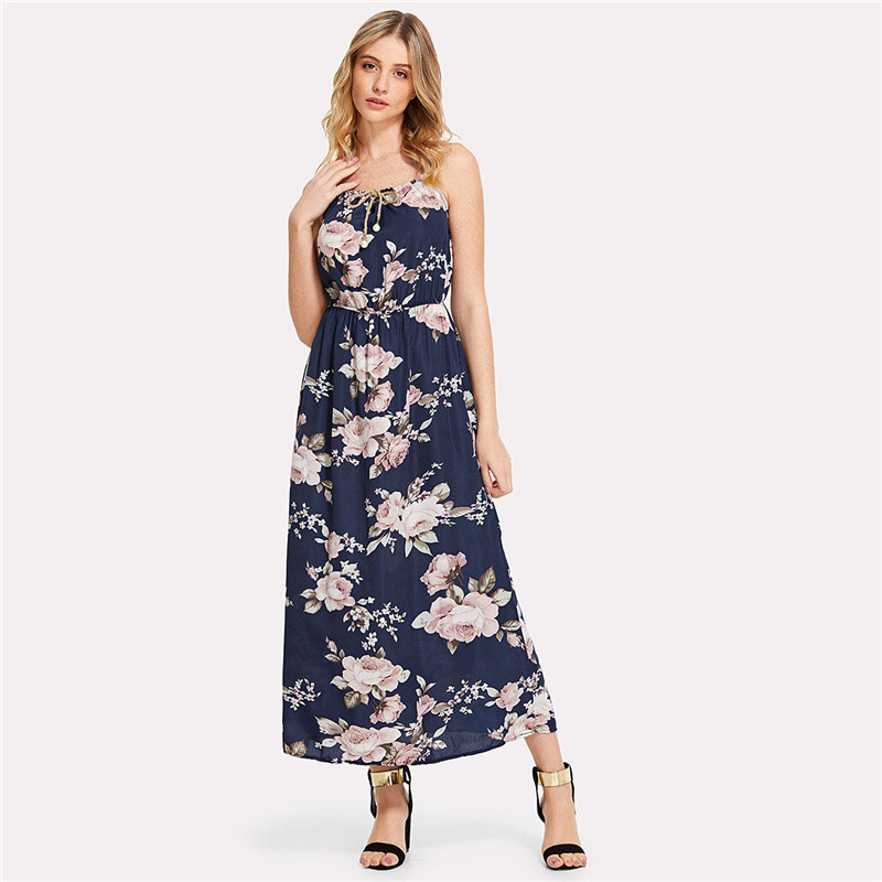 COLROVIE 2018 All Over Florals Faux Pearl Detail Cami Dress Ladies Sleeveless A Line Dress Spaghetti Strap Vacation Dress 11