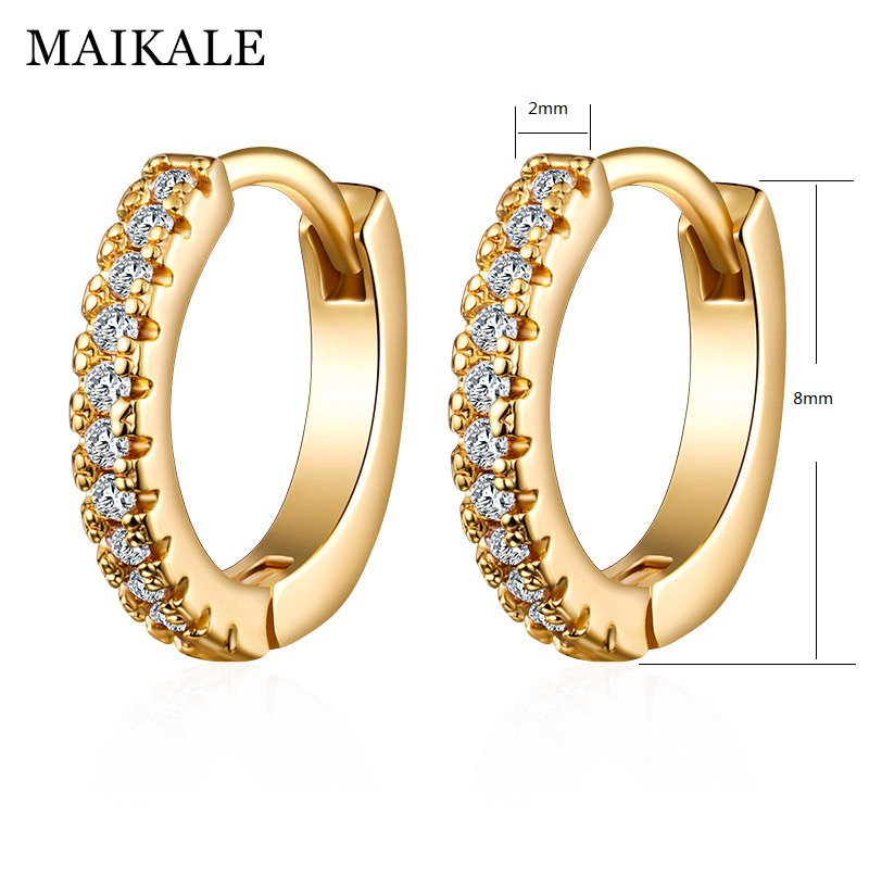 pair Stainless Steel Gold Color Plated Prong-Set Round Circle Stud Earrings with Rose Pink CZ