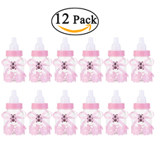 12pcs Feeding milk bottle Style Candy Bottle Gift Box Baby Shower Baby girl birthay party Favors (Pink)