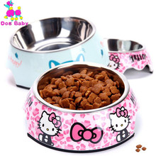 DOGBABY Stainless Steel Dog Bowl Pink Blue Cats Bowls Print Pattern Pet Food Feeders Health Plastic Water Sigle Bowl For Dog Cat(China)