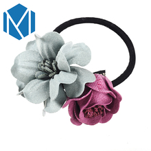 M MISM European Fashion Women Scrunchy Hair Bands Trendy Fabric Flower Ponytail Holder Beauty Female Floral Hair Accessories Gum(China)