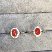 High Quality Real Red Coral Rings Wholesale Hot Sell 925 Sterling Silver Limited Supply Simple Design White Gold Color Jewelry(China)