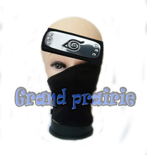 Anime naruto Leaf Village hatake kakashi NINJA cosplay Black face mask & headband cosplay 2pcs/set Konoha Ninja Cosplay Props