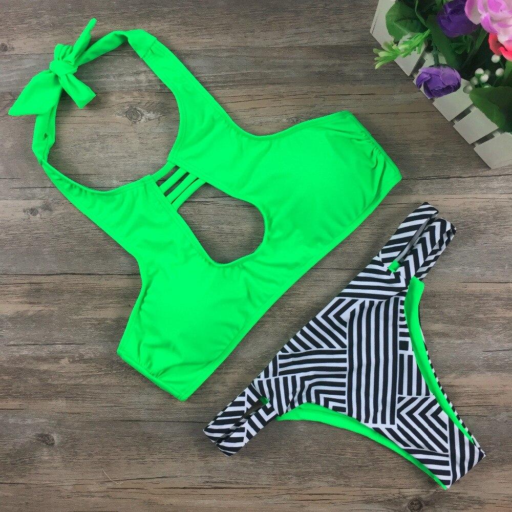 2017 High Neck Bikini Push Up Pads Bandage Ruched Halter Women Swimwear Top Banded Braizlian Biquini Thong Bottom Swimsuit  1622<br><br>Aliexpress