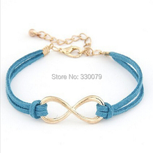 SL103 Hot Selling Cheap Wholsale Fashion Infinity Leather Bracelet Eight Cross Bangle For Girl Wedding Jewelry Accessories(China)