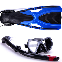 Underwater Diving Dry Scuba Snorkel Mask Silicone with Flipper M L XL Gear Kit