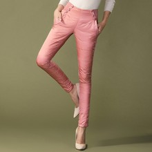 Women High Waist  Windproof  Down Pants Female Slim Thickness With Lace Formal Pants For Lady Winter Outer Wear Warm Trousers