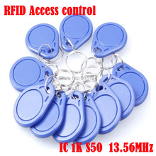Free Shipping 100pcs 13.56Mhz RFID fobs Token Keyfob buttons IC Cards NFC  for access control Contactless M1 Card parking tag