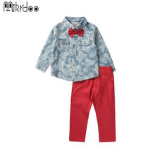 Boy clothes kids formal wear gentleman dresses floral bow shirt red pants performance fashion style casual long sleeve costume