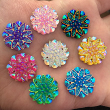 HOT 10 pieces/lot 18mm AB Resin flower Rhinestone Flatback Wedding decoration 2 hole Buttons D60