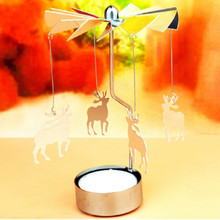 Holiday Romantic Rotation Candlestick Candle Holders Revolving Door Windmill Candleholder Candle Tea Light Holder VBT07(China)