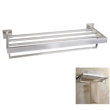 24-Inch 304 Stainless Steel Bathroom Dual Layers Towel Bar Rack Towel Holder Shelves Wall Mount Brushed Bathroom Accessories(China)