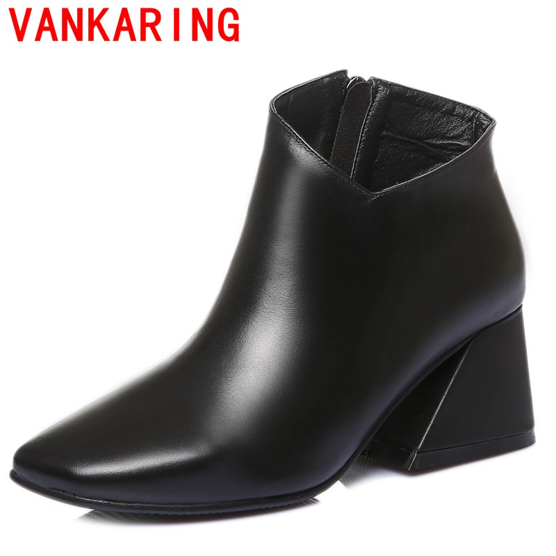 VANKARING shoes 2017 Europe and America style women ankle boots side zipper modern yellow black square toe fashion riding boots <br><br>Aliexpress