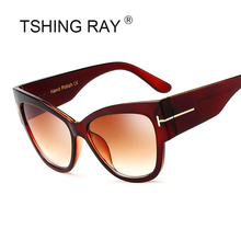 TSHING RAY Retro Gradient Points Cat Eye Tom Sunglasses Women Fashion Brand Designer Cateye Sun Glasses For Female Oculos UV400(China)