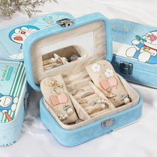 Kawaii Blue Jewelry Box Portable Jewelry Organizer Box PU Leather Earring & Ring Collection Travel Makeup Case Best Gift to Girl(China)
