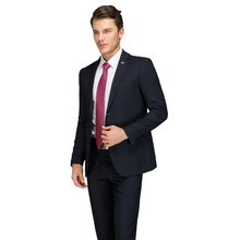 Formal Business Suit Blue 2017 Latest Coat Pant Designer Work Dress Costume Male Black Men's Formal Wear Suits Set With Pants(China)