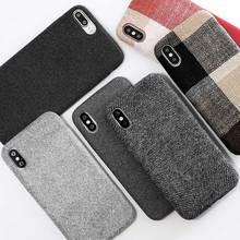 SoCouple Tuch Textur Weichen fall Für iphone 7 Fall Ultra-dünne Leinwand Grid Muster Phone Cases Für iphone 6 6 S 7 8 Plus X Xs Max(China)