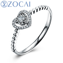 ZOCAI Heart Shape Genuine 0.09 CT Certified Real Diamond Engagement Ring 18K White Gold (AU750) W05406(China)