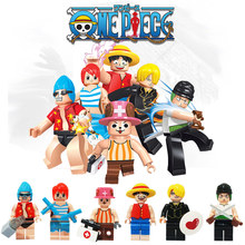 Japan Cartoon Comics One Piece Toys Mini Action Figure Monkey Franky Nami Tony Chopper Sanji Building Block Toy Set Lago 85001