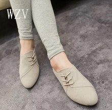 WZV 2017 New Hot Selling Spring Casual Women Shoes Women Nubuck Leather lace-Up Flat Shoes Handsome Head Toe Shoes F695