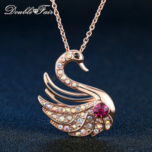 Vintage Swan Party Necklaces & Pendants Rose Gold Color Chain Crystal Jewelry For Women Wholesale Colar DFN474(China)