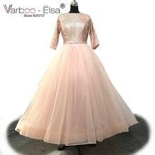 VARBOO ELSA New Arrival 2018 Pink Shinny O neck Glitter Vintage Arabic Ball  Gown Formal Long Evening 0b1c4886b721