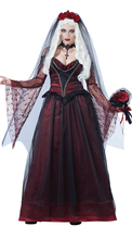 Mexico Day of The Dead Ghost Bride Costume Halloween Deluxe Sexy Scary Vampire Demon Cosplay Fancy Dress