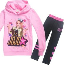 New 2 Pcs Suits Tracksuit Autumn Baby Clothing Sets Children Girls Fashion Brand Clothes Kids Hooded T-shirt And Pants jojo siwa(China)