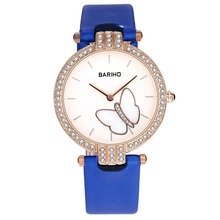 Fashion Women Crystal Round Butterfly Dial Face Watch PU Leather WatchBand Waterproof Quartz Wristwatch Gifts LL@17