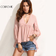 COLROVIE Lantern Sleeve Pink Hi-Lo Blouse Women Draped Sexy V Neck Cute Autumn Tops 2017 Fashion Pleated Dip Hem Casual Blouse(China)