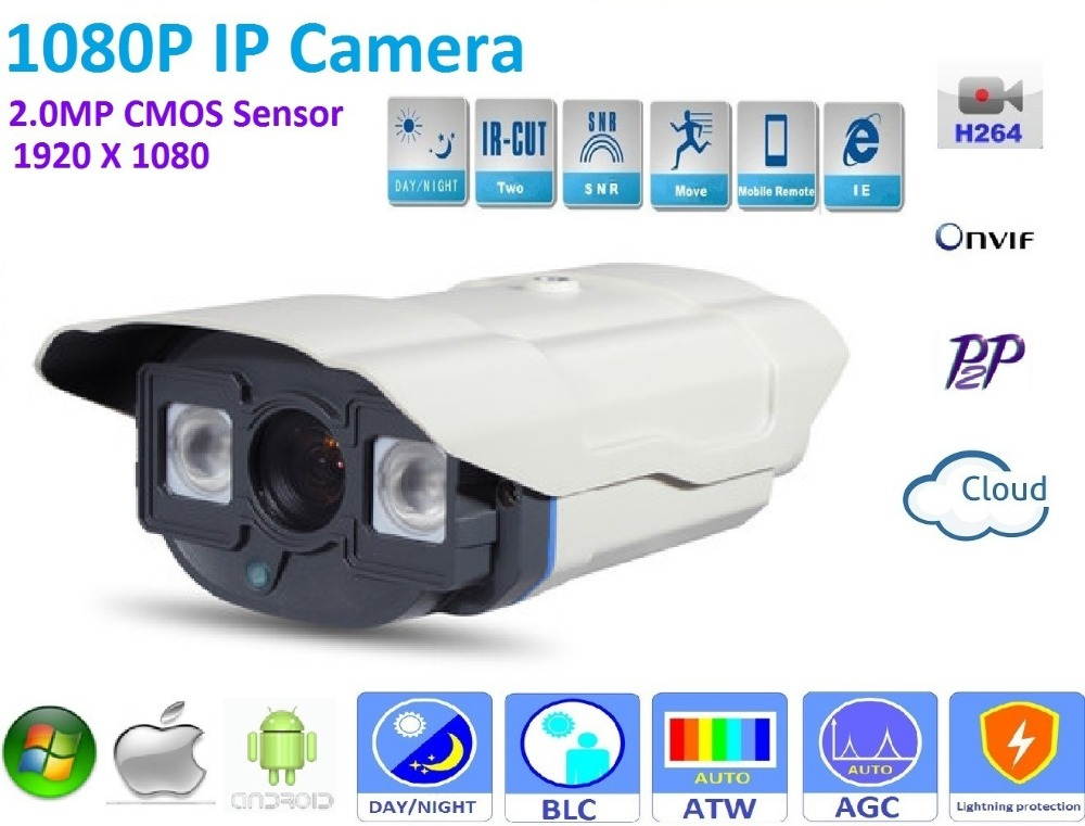 1920*1080P POE IP Camera ONVIF H.264 P2P Waterproof Outdoor IR CUT Night Vision support POE Switch 48V or DC 12V Power supply<br>