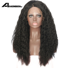 Anogol Long Kinky Curly Lace Front Wig synthetic Guleless Heat Resisant Fiber Fully Hair Natural Wigs For Women African American