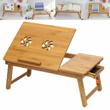 Bamboo Table Lap Folding Laptop Tray Without Cooler Pad Smaller Size Sofa Bed Office Hollow Flower Stand Table Computer Desk