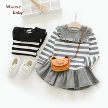 2017 Autumn Girls Dress Stripe Princess Infant Dress Fashion Toddler Vestidos Winter Costume Sweet Party Kids Dresses For Girls