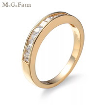 MGFam Small Square Rings For Fashion Women Daily Wear CZ 18 k G P Gold color Hot jewelry AAA+ Cubic Zircon(China)