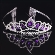 Beautiful Purple Crystal Snow Queen Crown Baby Girls Tiara Headdress Rhinestone Pageant Prom Hairbands Crown Hair Ornaments(China)