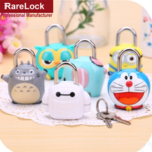 Rarelock Cartoon Colour Brass Padlock with 2 Keys for Drawer Door Jewelry Box Bags Lock DIY Furniture Hardware a(China)