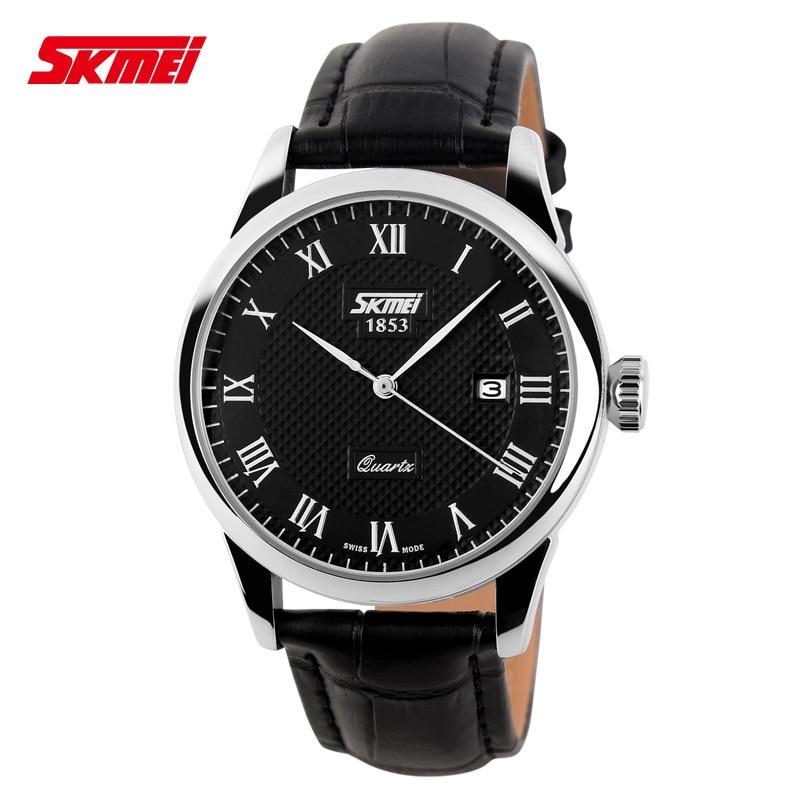 New Famous Brand SKMEI Fashion Leather Strap Quartz Men Casual Watch Calendar Date Work For Men Dress Wristwatch 30M Waterproof<br><br>Aliexpress