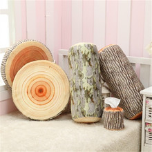 New Creative Design Soft Sleeping Pillow Simulation Tree Stump Wood PP Cotton Stuffed Round Cushion Texture Trees Toys 5 Style