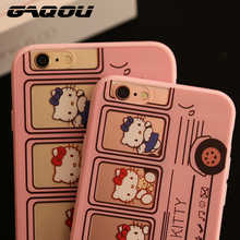 GAQOU HelloKitty Cartoon Case for iPhone 5 5s 5se 6 6s plus Soft Silicon + PC Pink Bus Hello Kitty Case with strap & dust plug