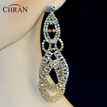 "Chran Luxury New Earing Wedding Bridal Rhinestone Crystal 4.5"" Long Gold Color Dangle Chandelier Drop Earrings Jewelry DE209"