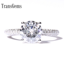 Transgems 2 Carat F Color Engagement Wedding Lab Grown Moissanite Ring With Real Diamond Accents Solid 14K 585 White Gold