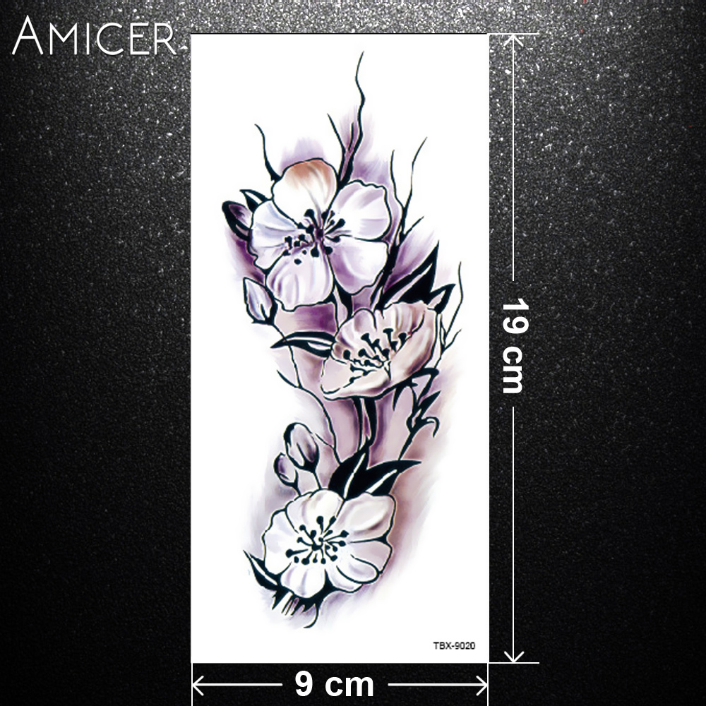 sexy romantic dark rose flowers flash fenna tattoos fake Waterproof temporary tattoos stickers body art Tattoo sleeve 10