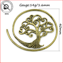 BOG-Pair Tree Of  Life Antique Brass Ear Carttilage Tragus Fake Cheater Ear Gauges Plugs Piercing Taper Strechers Earring 14g