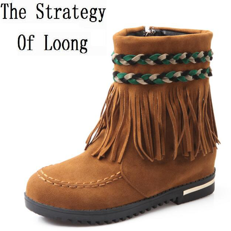 Bohemia Flats Fringe Flock Wove Spring Autumn Women Ankle Boots Lady Fashion Sexy Tassel Suede Short Boots Size 35-39 SXQ0605<br>