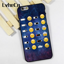 LvheCn phone case cover fit for iPhone 4 4s 5 5s 5c SE 6 6s 7 8 plus X ipod touch 4 5 6 Emoji Face battery Space funky smiley