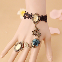 Lace Bracelet And Ring Set Women Fashion Vintage Set Cheap Costume Jewelry Blue Rose Design Indian Accessories Hot Selling Goods(China)