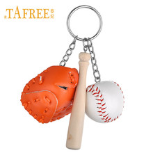TAFREE Creative Simulation Baseball Keychain Soft Leather Ball Wooden Baseball Bat Charms Key Chain Sports Lover Souvenir YY2011(China)