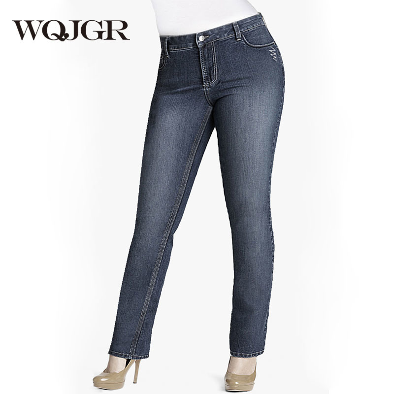 WQJGR Autumn And Winter Women Jeans Plus Size Increase Fertilizer Enlarge Code High Waist Jeans Women Weight 200KG 300KG