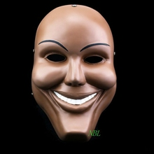 Human Smiling Face Masks Halloween Movie The Purge Masquerade Party Props Adults Smile Resin Mask Cosplay Costume Party With Box(China)